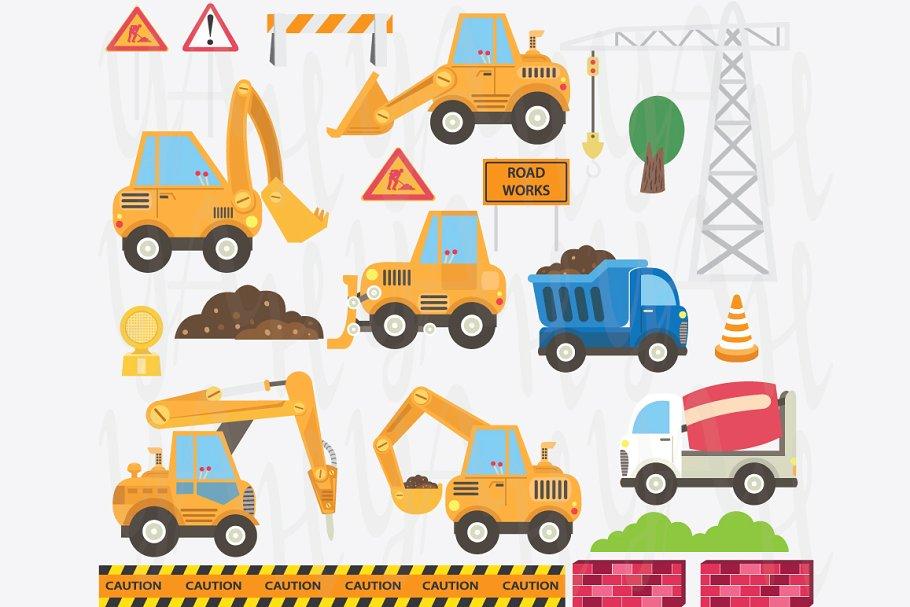 Cute Construction Transportation Set.