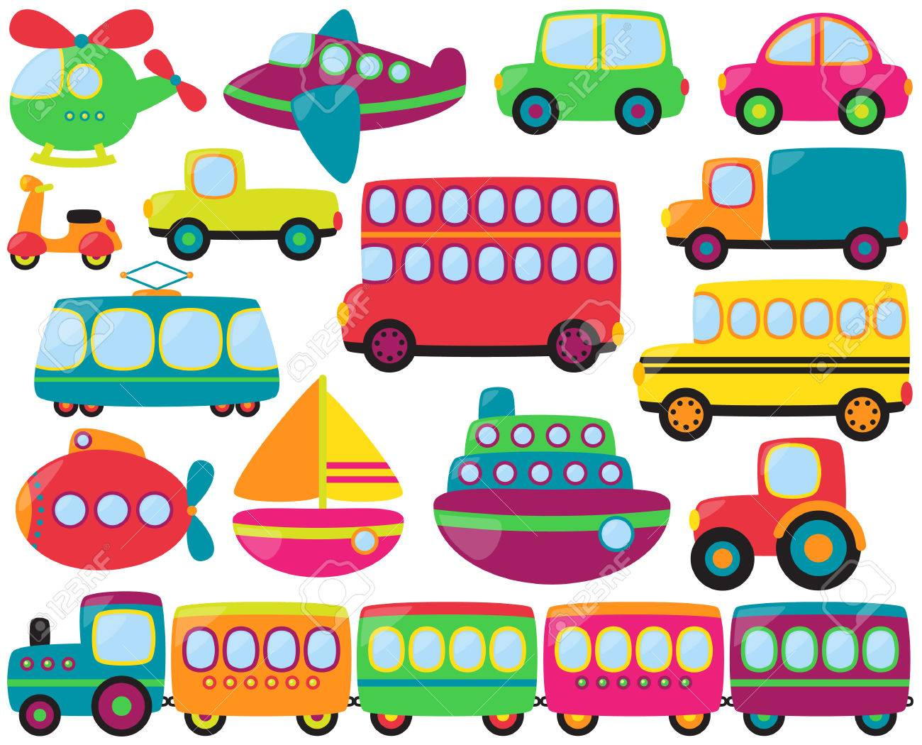 Cute Vector Collection of Transportation Vehicles.