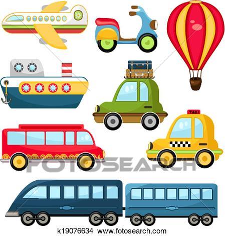 Cute Vector Transportation Clipart.