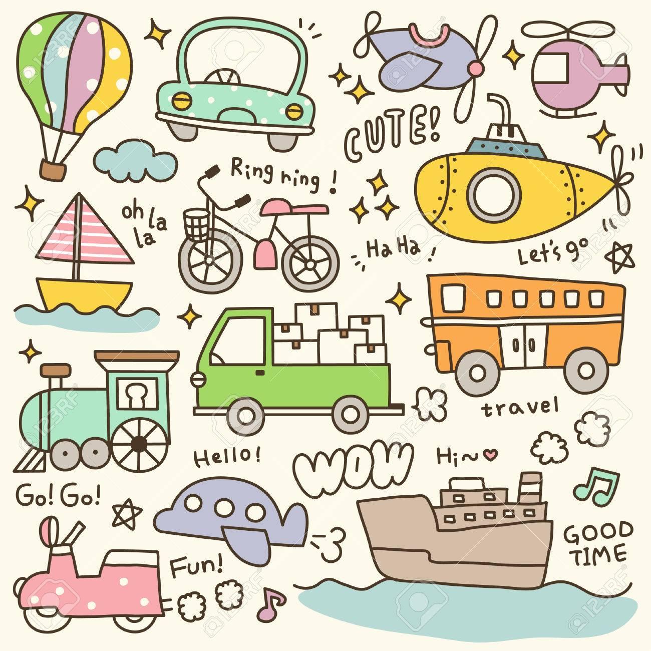 Set of Cute Transportation Doodle.