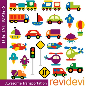 Cute Transportation Clip art (choo choo trains, cars) colorful vehicle  clipart.