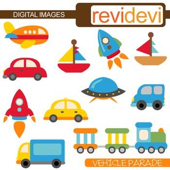 Cute Transportation Clip Art (cars, rockets, boats) vehicle clipart.