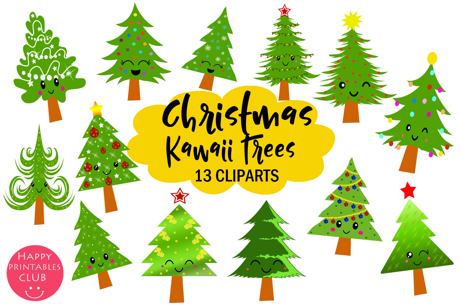 Cute Kawaii Christmas Trees Clipart.