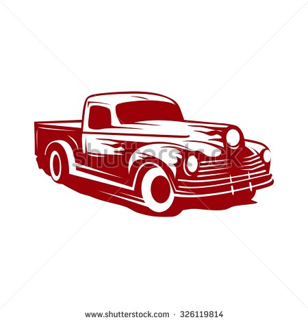 Two Cartoon Vintage Pickup Truck Outline Stock Vector 413727652.