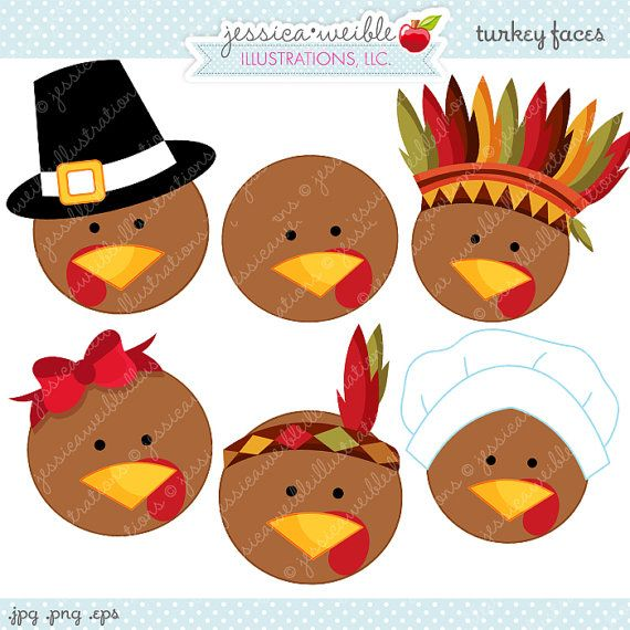 Turkey Faces Cute Thanksgiving Digital Clipart, Commercial.