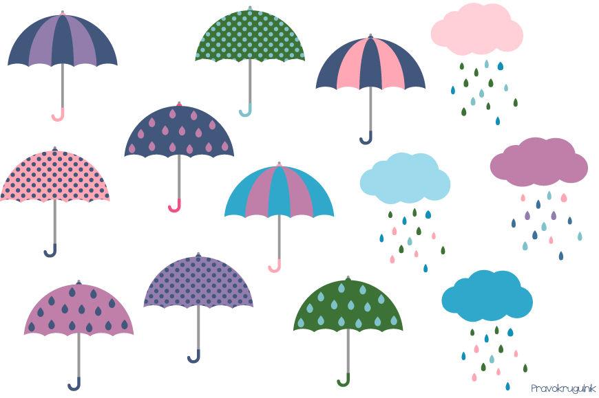 Cute umbrella clipart, Rainy weather clip art, rainy clouds, spring.