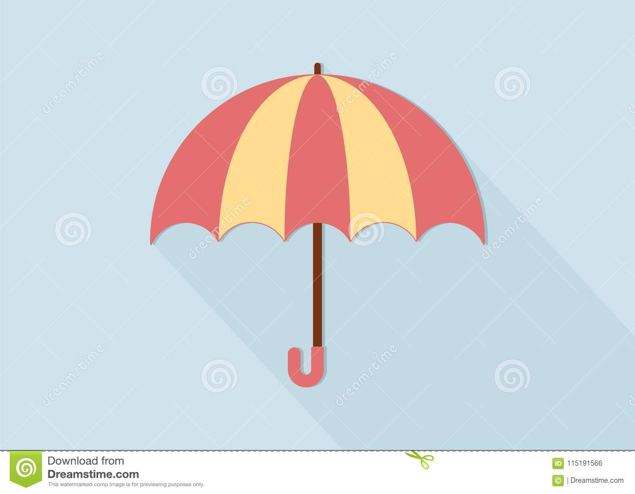 Cute Pink And Yellow Umbrella Clipart Stock Vector.