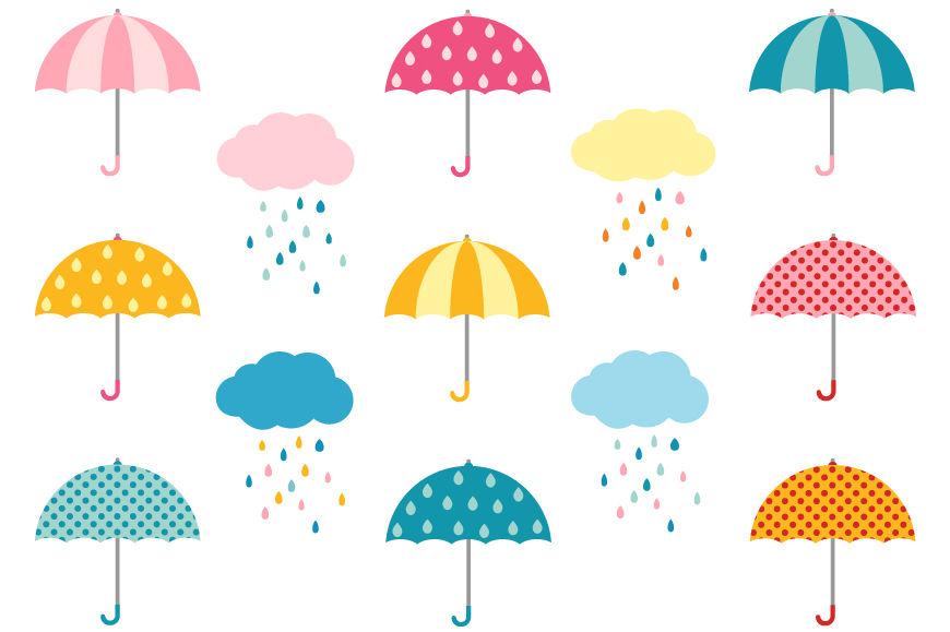 Colorful umbrella clipart, Cute weather clip art, Rain clouds By.