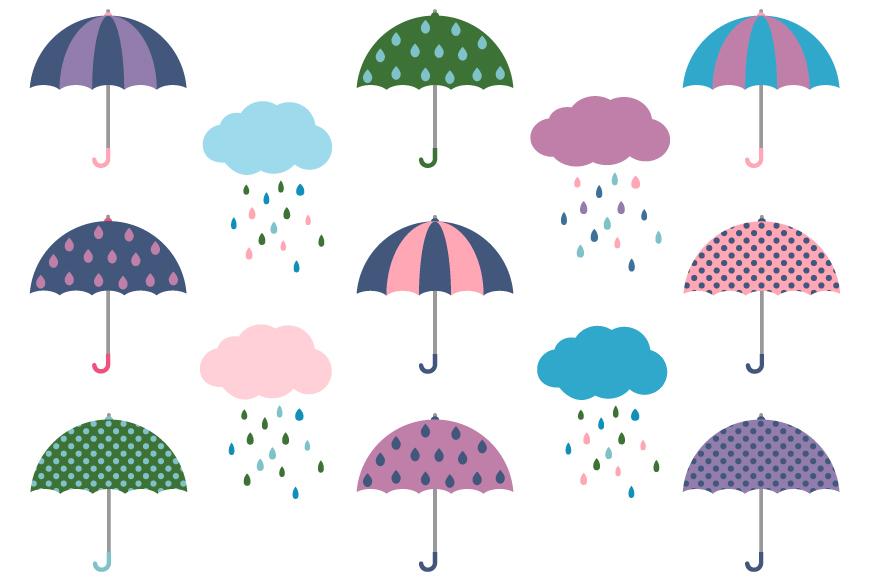 Cute umbrellas and rainy clouds clipart set.