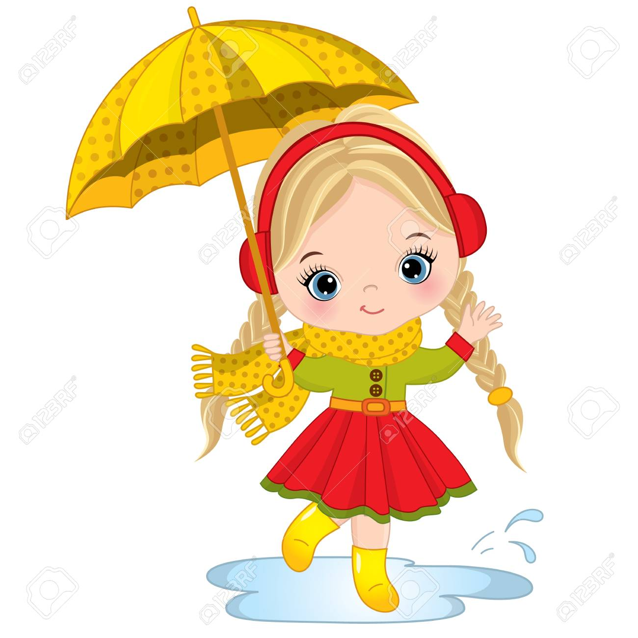 Vector cute little girl holding umbrella. Vector little girl...