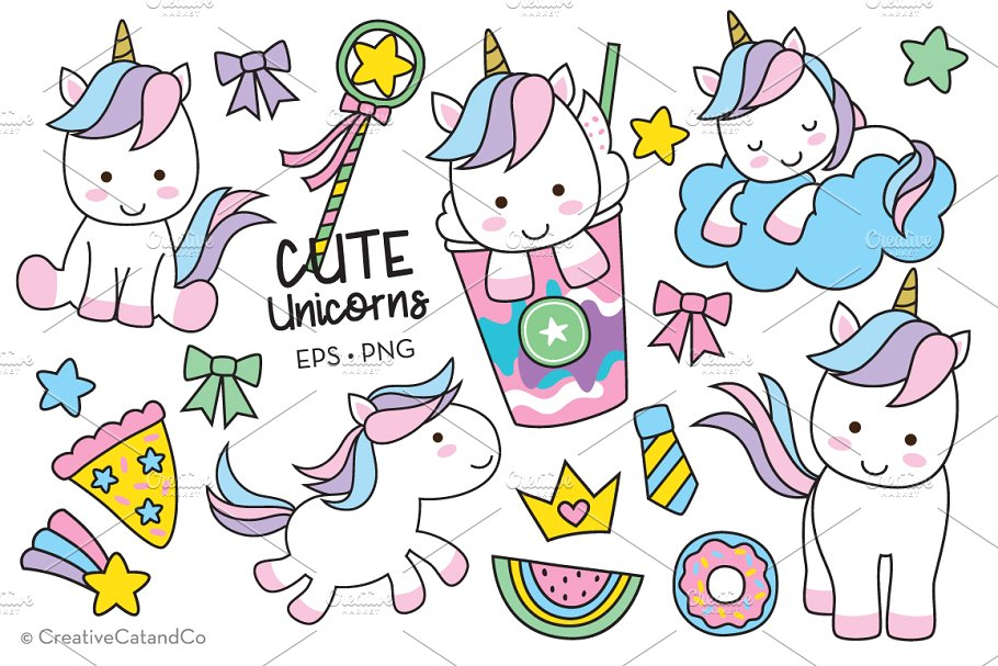 Cute Unicorn Vector and PNG.