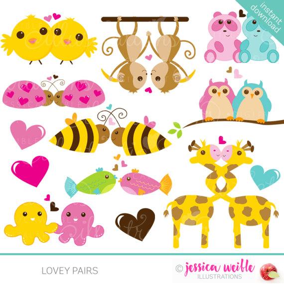 Lovey Pairs Cute Digital Clipart.
