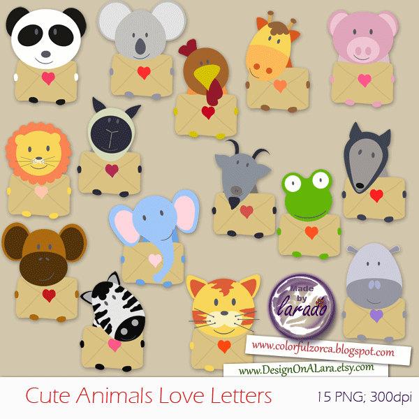 Cute Animals Love Letters Clip art Valentine Clipart.