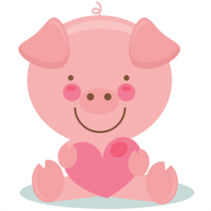 Cute Valentine Pig scrapbook cuts SVG cutting files doodle cut.