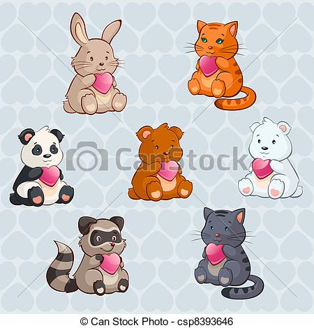 Clip Art Vector of Cute Baby Animals holding Hearts.