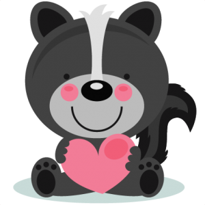 Cute valentine skunk clipart black and white.