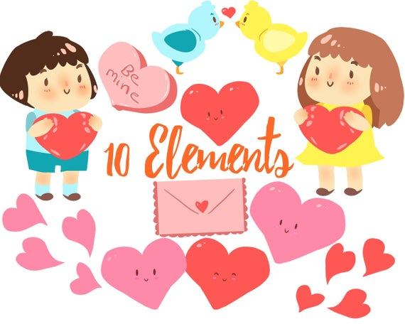 Cute Valentine Day Clipart, Valentines clip art, Valentines graphics for  personal and commercial use, scrapbooking, planner stickers.