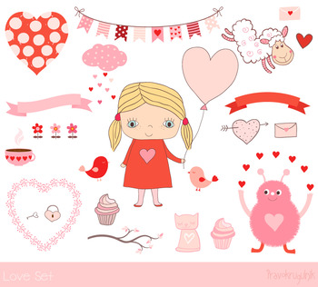 Love clip art set, Cute Valentine clipart, Girl, banner, bunting, cupcake,  heart.