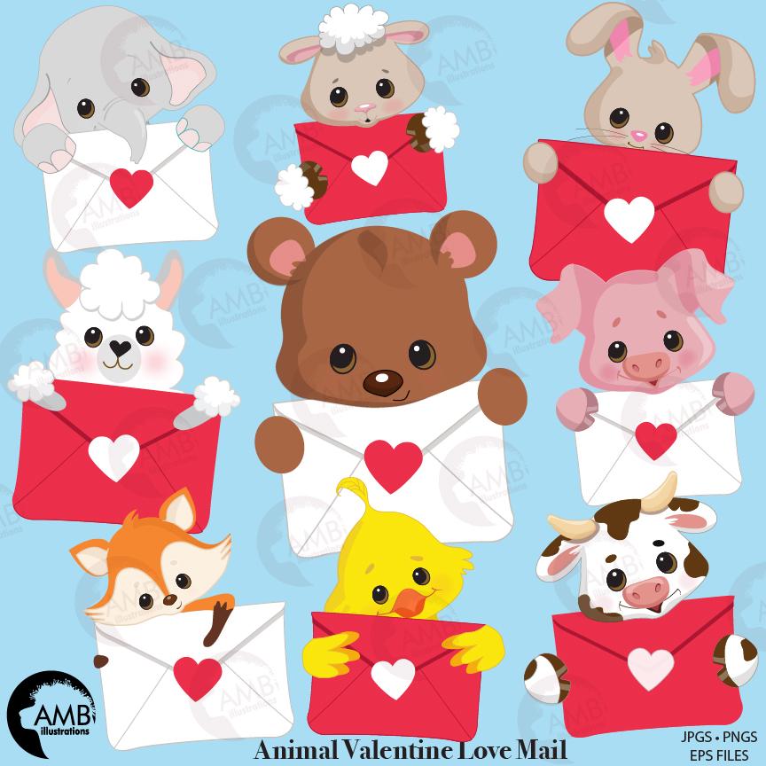 Valentine critters clipart, valentine animals, valentine clipart, heart  clipart, commercial use, vector graphics, digital clip art, AMB.