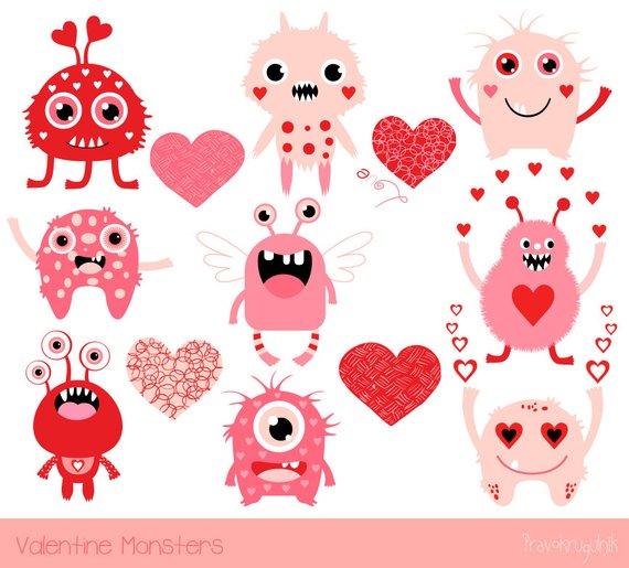 Cute Valentine monsters clipart, Kids Valentine clipart, Pink.