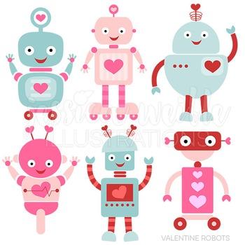 Valentine Robots Cute Digital Clipart, Valentine Clip Art.