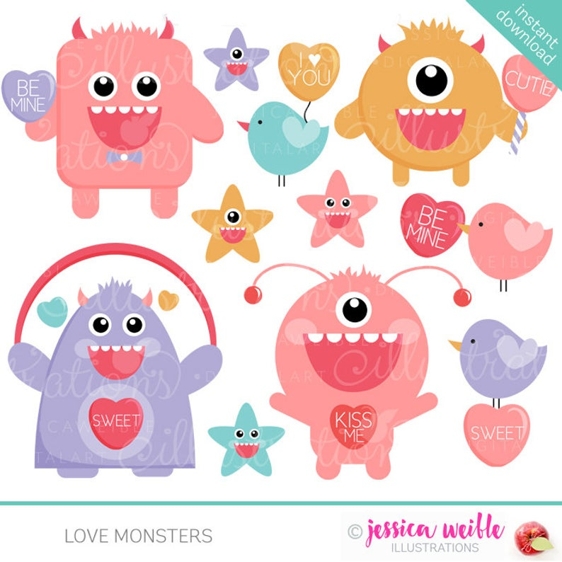 Love Monsters Cute Valentine Clipart.