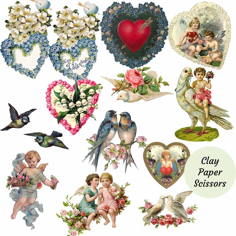 Cute vintage Valentines Day clipart, with hearts, flowers, birds, and  cherubs. Png and Jpg digital files for paper crafts. Commercial use.