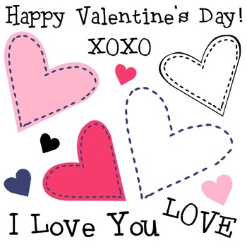 Simple Hearts Clip Art, Valentine's Day Clipart, Cute Sewn Stitches.