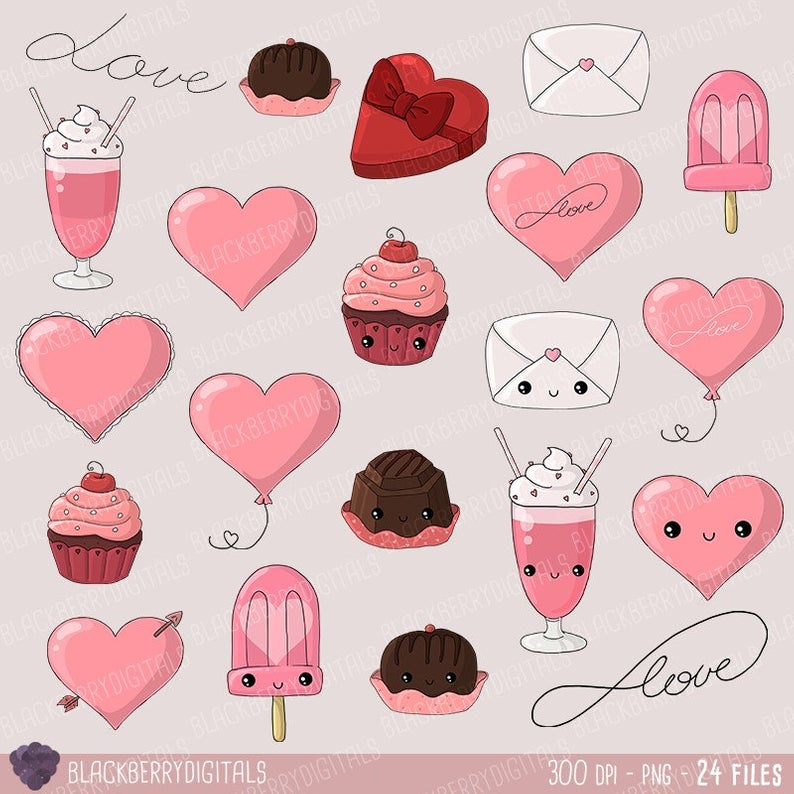 Kawaii Valentine's Day Clipart, kawaii valentine clip art, valentine's day  stickers, heart clipart, kawaii clipart with Instant Download.