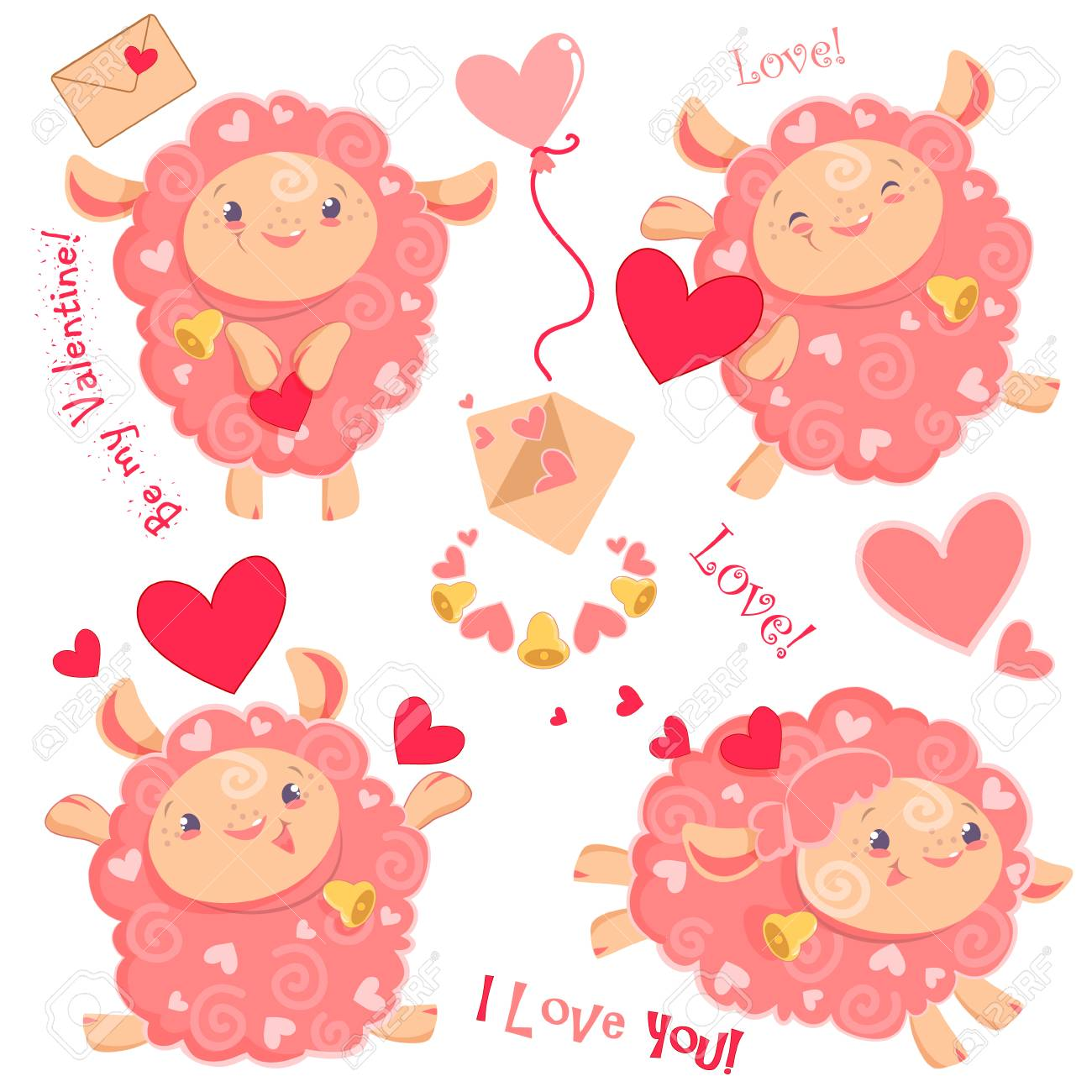 Vector illustration Valentine day clipart set of cute funny pink...