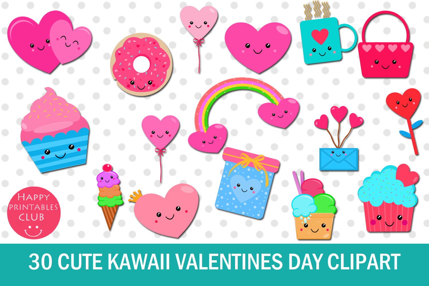 30 Cute Kawaii Valentines Day Clipart.