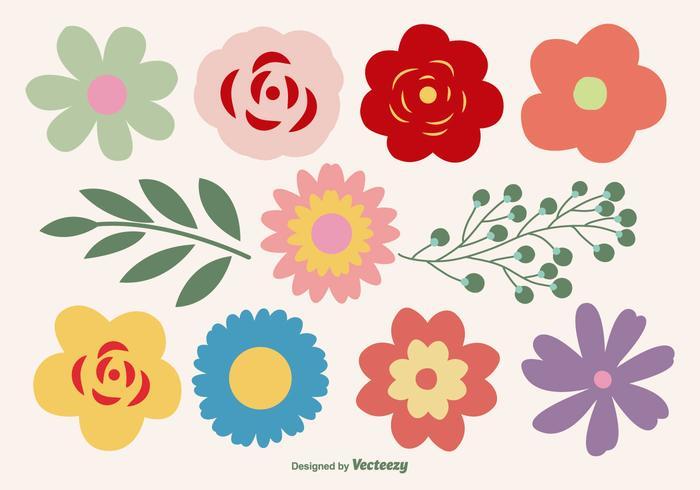 Cute Flower Shapes Set.