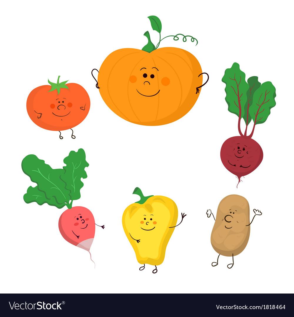 Cute funny vegetables set.
