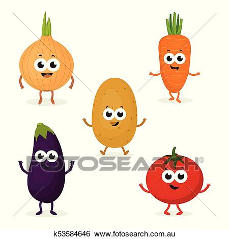 Set with cute vegetables Clip Art.