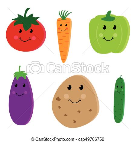 Cartoon vegetable cute characters.