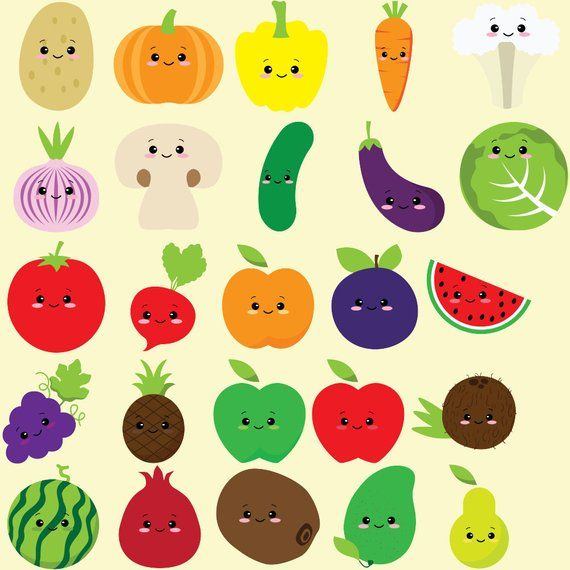 Cute fruit clipart, kawaii vegetables, vegetable clip art, colorful.