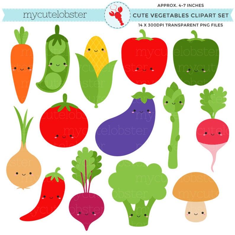 Cute Vegetables Clipart Set.