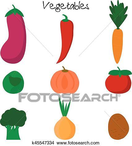 Cartoon cute vegetables. Clipart.