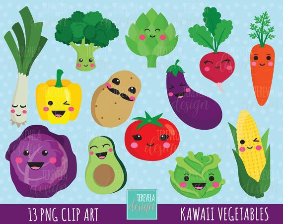 50% SALE kawaii VEGETABLES clipart, cute vegetables clipart, veggie  clipart, cute graphics, commercial use, kawaii clipart, cute veggie.