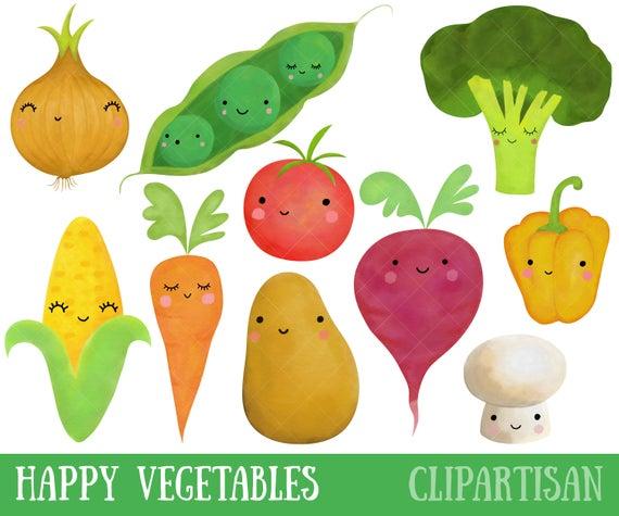 Happy Vegetables Watercolor Clipart.