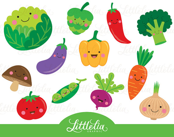 Cute Vegetable Clipart Veggie Clipart 15063 By Littleliagraphic.