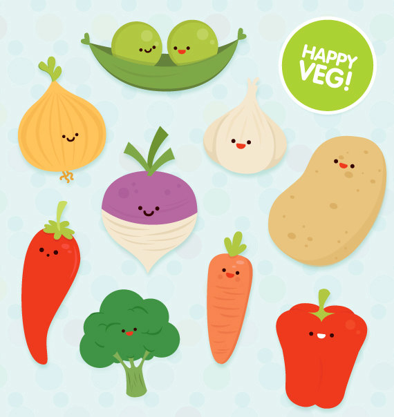 Veg clipart commercial use cute vector educational art by.