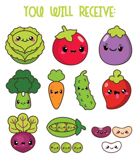 50%OFF, Kawaii vegetables clipart, kawaii veggies clipart, healthy.