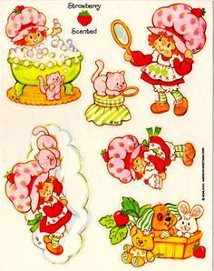 Vintage Baby Strawberry Shortcake Clip Art.