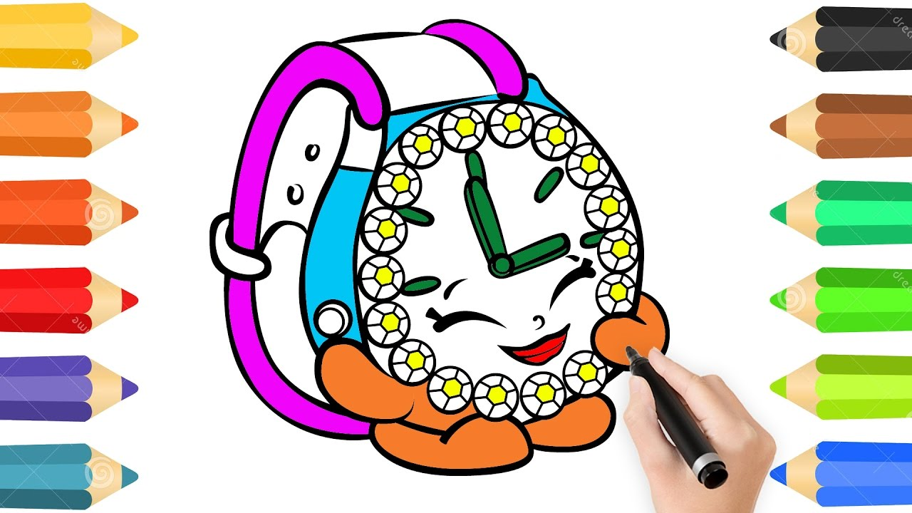 Coloring Pages Cute Watch & Drawing for children.