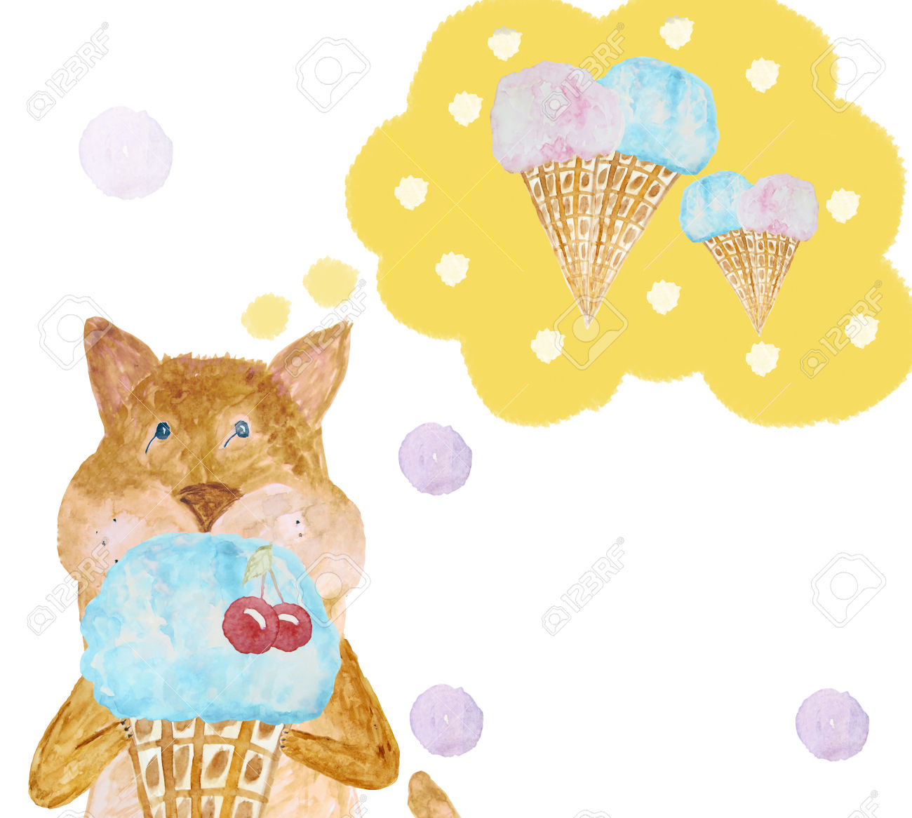 Cute Cartoon Cat Thinking About The Delicious Cold Ice Cream.