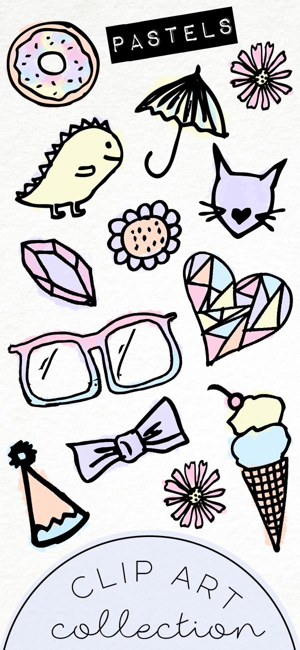 Hand Drawn Clip Art / PNG files / Cute Pastel Doodles / Digital.