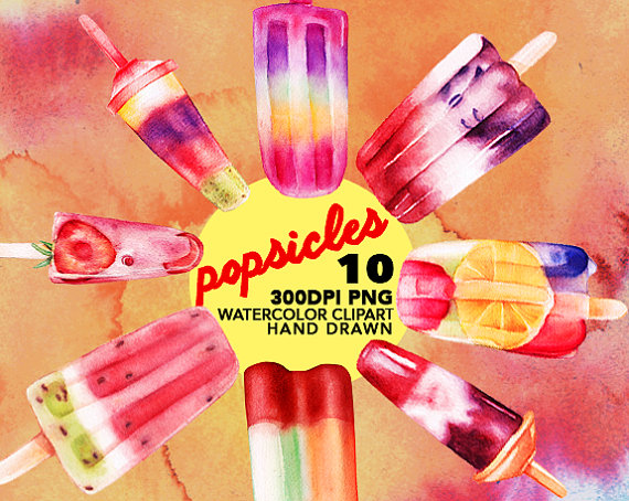 Popsicles Watercolor clipart, Ice Cream clipart, Watercolor.