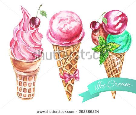 Set of watercolor ice cream cones, vector Illustration.