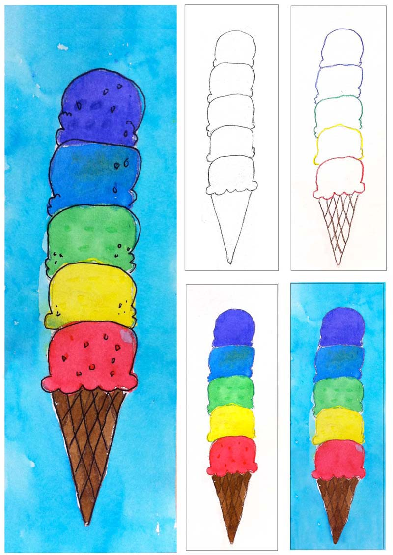 Art Projects for Kids: Ice Cream Cone Watercolor Painting.